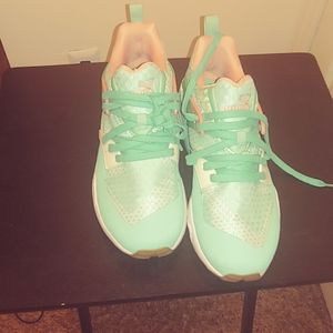 Puma Mint Green, Pink and White Gym Shoes